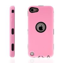 Pouzdro pro Apple iPod touch 5.gen. plasto-silikonové, výřez pro logo - růžové