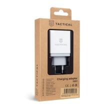 Nabíječka / EU napájecí adaptér TACTICAL - 2x USB + USB-C - 24W QuickCharge - bílý