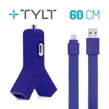 2v1 nabíjecí sada TYLT pro Apple zařízení - autonabíječka 2x USB (2.1A) + MFi certifikovaný kabel Lightning - modrá