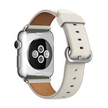 Řemínek pro Apple Watch 44mm Series 4 / 42mm 1 2 3 - kožený - bílý