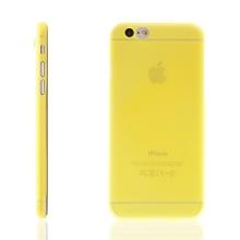 Ultra tenký plastový kryt pro Apple iPhone 6 / 6S - s prvkem pro ochranu skla kamery - žlutý