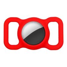 Kryt pro Apple AirTag - spona na batoh / psí obojek - silikonový - červený