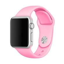 Řemínek pro Apple Watch 44mm Series 4 / 5 / 6 / SE / 42mm 1 / 2 / 3 - velikost M / L - silikonový - růžový