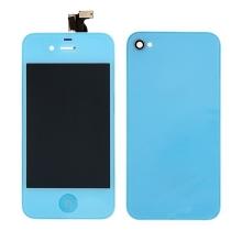 LCD panel včetně dotykového skla (digitizéru) a Home Buttonu pro Apple iPhone 4 a zadního krytu (skla) - modrý