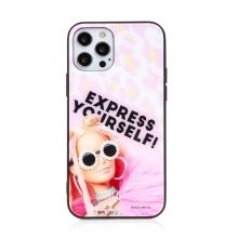 Kryt BARBIE pro Apple iPhone 12 / 12 Pro - Express Yourself - skleněný - růžový