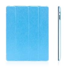 Pouzdro + Smart Cover pro Apple iPad 2. / 3. / 4.gen. - modré průhledné - elegantní textura