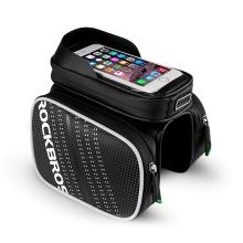 Sportovní pouzdro + brašna na kolo ROCKBROS pro Apple iPhone včetně velikostí Plus a Max - černé