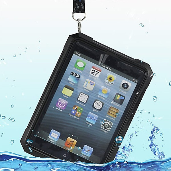 Voděodolné plasto-silikonové pouzdro iPega pro Apple iPad mini / mini 2 (Retina) se šňůrkou na krk - černo-průhledné