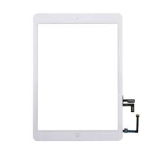 Přední dotykové sklo (touch screen) s flex kabelem a Home Buttonem pro Apple iPad Air 1.gen. - bílý rámeček - kvalita A+