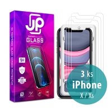 Tvrzené sklo (Tempered Glass) JP Long Pack pro Apple iPhone X / Xs - čiré - sada 3 kusů + aplikátor