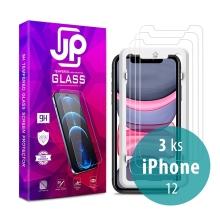 Tvrzené sklo (Tempered Glass) JP Long Pack pro Apple iPhone 12 - čiré - sada 3 kusů + aplikátor