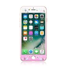 Tvrzené sklo (Tempered Glass) KAVARO pro Apple iPhone 7 - s kamínky Swarovski - sobi - růžové / bílé - 0,33mm