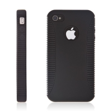 Dvoubarevný dvoudílný kryt pro Apple iPhone 4 - černo-černý