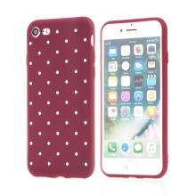 Kryt pro Apple iPhone 7 / 8 - gumový - vínový / bílé puntíky