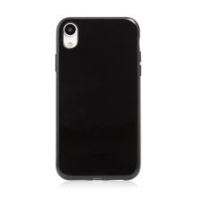 Kryt pro Apple iPhone Xr - lesklý rámeček - ultratenký - gumový - černý