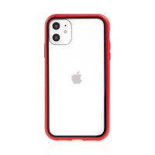 Kryt pro Apple iPhone 11 - magnetické uchycení - skleněný / kovový - červený