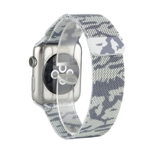 Řemínek pro Apple Watch 44mm Series 4 / 42mm 1 2 3 - magnetický - nerez - maskáčový - stříbrný / černý