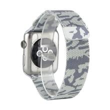 Řemínek pro Apple Watch 44mm Series 4 / 5 / 42mm 1 2 3 - magnetický - nerez - maskáčový - stříbrný / černý