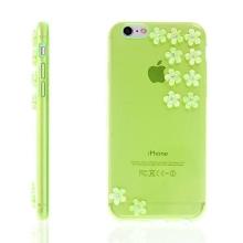 Kryt pro Apple iPhone 6 / 6S gumový tenký - květy s lesklými kamínky