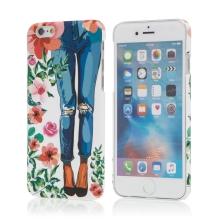 Kryt pro Apple iPhone 6 / 6S - růže + dívka v džínách - plastový - bílý
