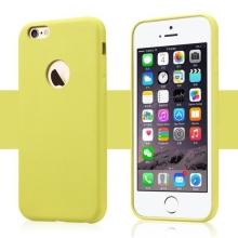 Ochranný plastový kryt USAMS pro Apple iPhone 6 / 6S s výřezem na logo - povrchová úprava - umělá kůže - žlutý