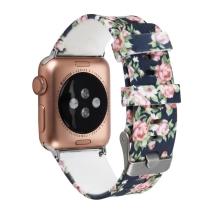 Řemínek pro Apple Watch 41mm / 40mm / 38mm - květinový motiv - silikonový - modrý
