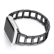 Řemínek pro Apple Watch 40mm Series 4 / 5 / 6 / SE / 38mm 1 / 2 / 3 - s kamínky a očky - kovový - černý
