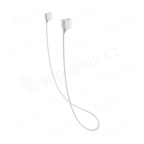 Šňůrka / úchyt pro Apple AirPods BASEUS - s magnety ke spojení - silikonová - bílá