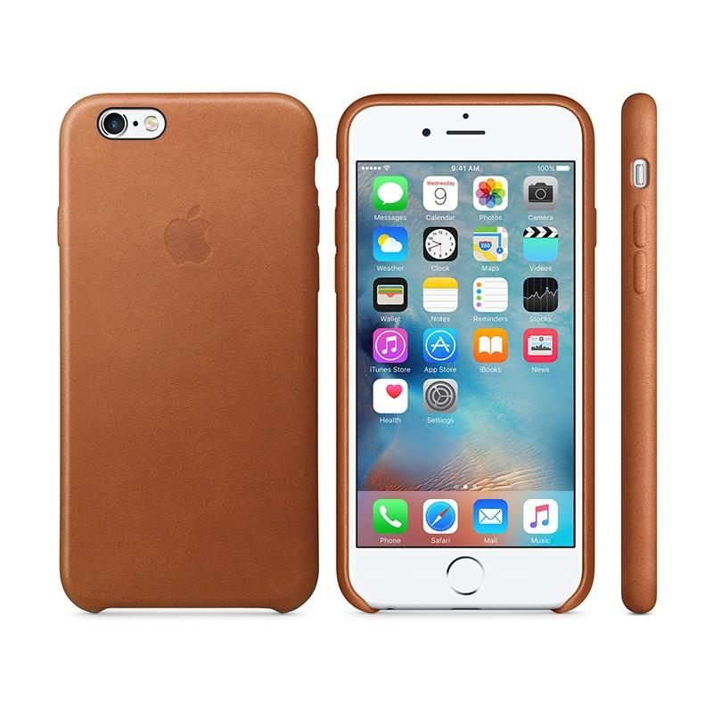 Originální kryt pro Apple iPhone 6 / 6S - kožený - sedlově hnědý
