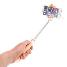 Selfie tyč teleskopická - kabelová spoušť - oranžová