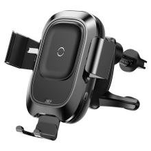 Držák do auta / bezdrátová nabíječka Qi BASEUS - elektronické uchycení - do ventilační mřížky - černý
