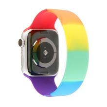 Řemínek pro Apple Watch 40mm Series 4 / 5 / 6 / SE / 38mm 1 / 2 / 3 - bez spony - L - silikonový - duhový