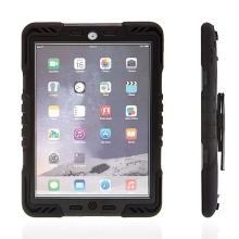 Odolné plasto-silikonové pouzdro Pepkoo pro Apple iPad Air 1.gen. s 360° otočným stojánkem a přední ochrannou vrstvou - černé