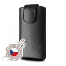 Pouzdro pro Apple iPhone X / Xs / XI - zasouvací - česká ruční výroba - kožené - lesklé černé
