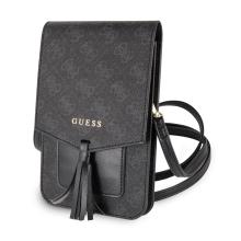Pouzdro / kabelka GUESS 4G - 2x kapsa + popruh přes rameno - umělá kůže - šedé