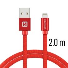 Synchronizační a nabíjecí kabel SWISSTEN - MFi Lightning pro Apple zařízení - tkanička - červený - 2m