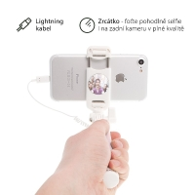 Selfie tyč / monopod USAMS - kabelová spoušť s lightning konektorem + zrcátko - růžová