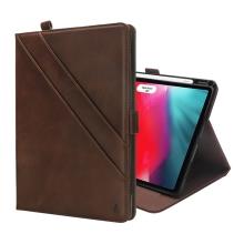 """Pouzdro pro Apple iPad Pro 12,9"""" (2018) - prostor pro dokumenty + stojánek - umělá kůže - tmavě hnědé"""