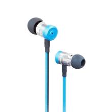 Sluchátka SWISSTEN pro Apple zařízení - špunty - ovládání + mikrofon - kov / guma - modrá