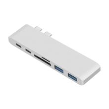 Dokovací stanice / port replikátor pro Apple MacBook Pro - 2x USB-C na 2x USB-C + 2x USB-A + SD - stříbrná