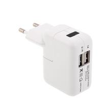 EU napájecí adaptér / nabíječka s porty 2x USB (1A, 2.1A) pro Apple iPhone / iPad / iPod - bílý