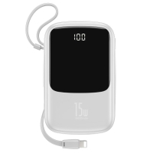 Externí baterie / power bank BASEUS 10000mAh - 2x USB, 3A + Lightning + USB-C - bílá
