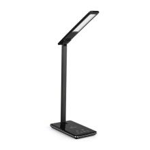 Stolní lampička + bezdrátová nabíječka / nabíjecí podložka Qi + USB-A - černá