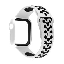 Řemínek pro Apple Watch 44mm Series 4 / 42mm 1 2 3 + ochranný rámeček - silikonový