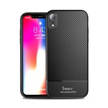 Kryt IPAKY pro Apple iPhone Xr - gumový - karbonová textura - černý