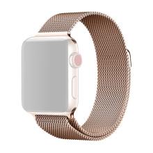Řemínek pro Apple Watch 40mm Series 4 / 5 / 6 / SE / 38mm 1 / 2 / 3 - nerezový - Rose Gold růžový