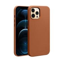 Kryt QIALINO pro Apple iPhone 12 Pro Max - kožený - hnědý