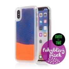 Kryt TACTICAL Glow pro Apple iPhone X / Xs - pohyblivý svíticí písek - plastový - oranžový / modrý