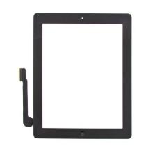 Přední dotykové sklo (touch screen) pro Apple iPad 3.gen. - osazený díl - Home Button + konzole na fotoaparát - černé - kvalita A+