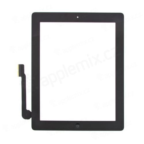 Přední dotykové sklo (touch screen) pro Apple iPad 3.gen. - osazený díl - Home Button + konzole na foto - bílé